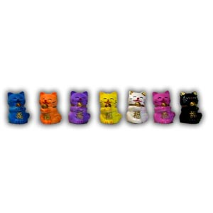 A Set of Seven Mini Lucky Cats