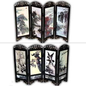 oriental village autre artisanat oriental chinois mini paravent paysage oiseaux. Black Bedroom Furniture Sets. Home Design Ideas