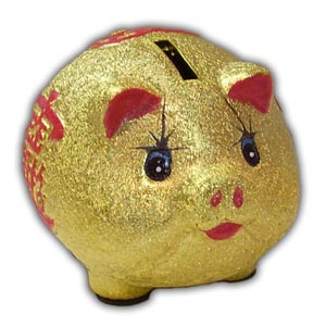 Pig Piggy Bank - 6 inches, Gold
