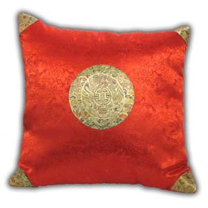 Oriental Chinese Brocade Cushion Cover - Red, Dragon
