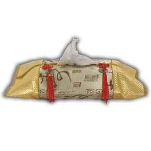 Oriental Chinese Brocade Tissue Box Cover - Beige