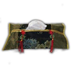 Oriental Chinese Brocade Tissue Box Cover - Black