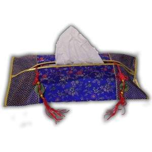 Oriental Chinese Brocade Tissue Box Cover - Blue II