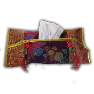 Oriental Chinese Brocade Tissue Box Cover - Dark Red