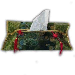 Oriental Chinese Brocade Tissue Box Cover - Green