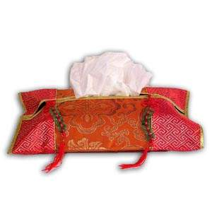 Oriental Chinese Brocade Tissue Box Cover - Orange