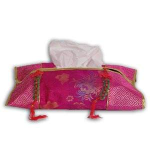 Oriental Chinese Brocade Tissue Box Cover - Pink