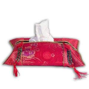 Oriental Chinese Brocade Tissue Box Cover - Red