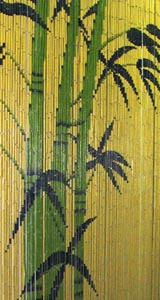 Bamboo Beaded Door Curtain - Green Bamboo Trees III