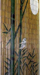 Bamboo Beaded Door Curtain - Natural Green Bamboos with Moon