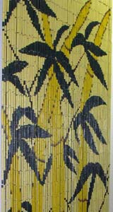 Bamboo Beaded Door Curtain - Yellow Bamboo Trees II