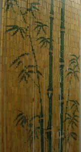Bamboo Beaded Door Curtain - Natural Green Bamboos