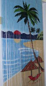 Bamboo Beaded Door Curtain - Beach & Palm Tree