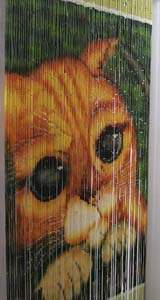 Bamboo Beaded Door Curtain - Orange Cat