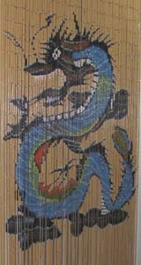 Bamboo Beaded Door Curtain - Beige Blue Dragon