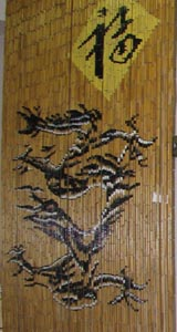 Bamboo Beaded Door Curtain - Natural Dragon & Happiness
