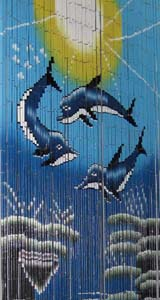 Bamboo Beaded Door Curtain - Three Dolphins II