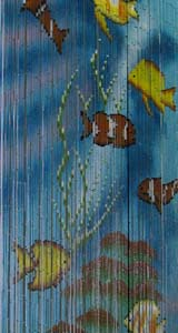Bamboo Beaded Door Curtain - Fish