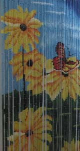 Bamboo Beaded Door Curtain - Butterfly & Flower (Chrysanthemum)