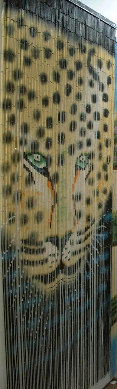 Bamboo Beaded Door Curtain   Leopard