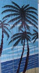 Bamboo Beaded Door Curtain - Large Palm Trees