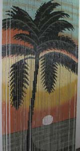 Bamboo Beaded Door Curtain - Big Palm Tree III