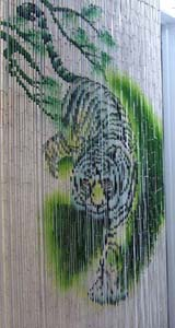 Bamboo Beaded Door Curtain - White Tiger