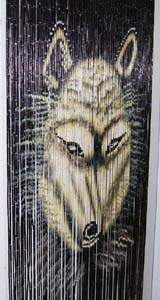 Bamboo Beaded Door Curtain - Big Head Wolf