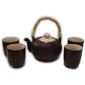 Asian Porcelain Teaset - Small (Brown & Beige)