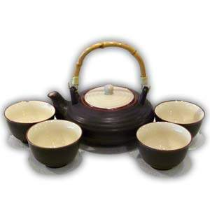 Asian Porcelain Teaset - Flat (Brown & Beige)