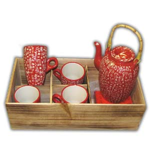 Oriental Teaset - Characters, Red