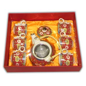 Oriental Teaset with Gift Box - Characters, Red