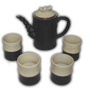 Asian Porcelain Teaset - Bamboo Form (Brown & Beige)