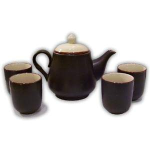 Asian Porcelain Teaset - Plain (Brown & Beige)