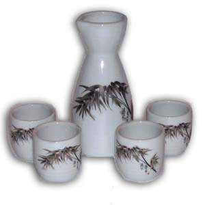 5 pcs Japanese Sake Set - White, Bamboo