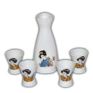 5 pcs Japanese Sake Set - White, Geisha
