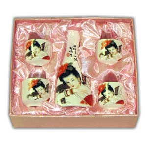3 pcs Japanese Sake Set - Geisha