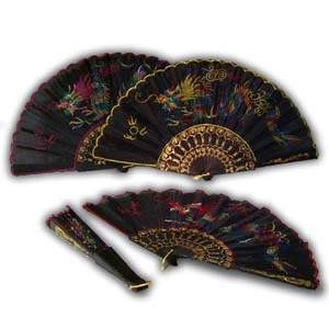 Oriental Small Hand Fan - Black with Design