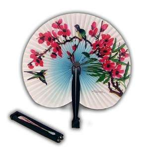 Two Oriental Small Folding Hand Fans - Round