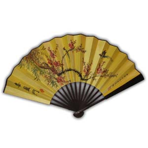 Oriental Chinese Hand Fan - Red Flower