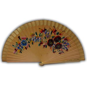 Oriental Hand Painted Wooden Hand Fan - Beige II