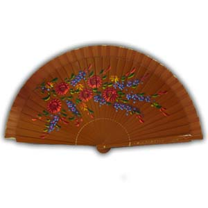 Oriental Hand Painted Wooden Hand Fan - Brown II