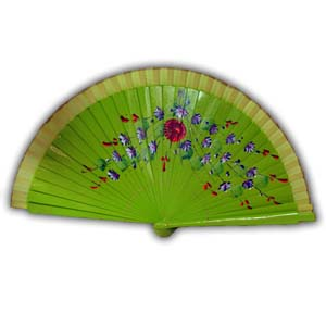 Oriental Hand Painted Wooden Hand Fan - Light Green
