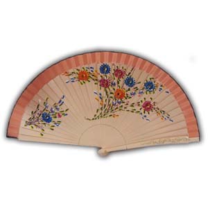 Oriental Hand Painted Wooden Hand Fan - Pink