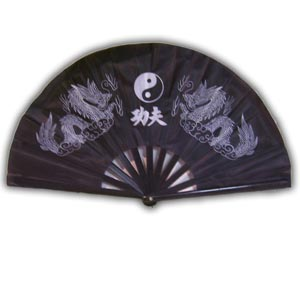 Oriental Chinese Kung Fu Fan - Black with Dragons