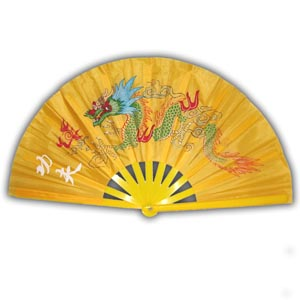 Oriental Chinese Kung Fu Fan - Yellow with Dragon