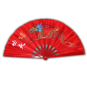 Oriental Chinese Kung Fu Fan - Red with Dragon