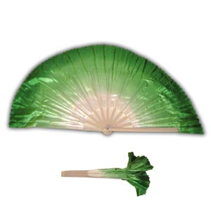 A Pair of Two (2) Oriental Dancing Fans - Green