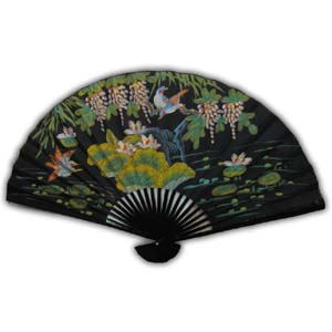 35-in Hanging Fan - Big Flowers & Birds II, Black
