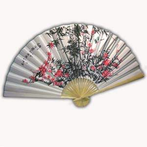 35-in Hanging Fan - Bamboo, Flower & Birds